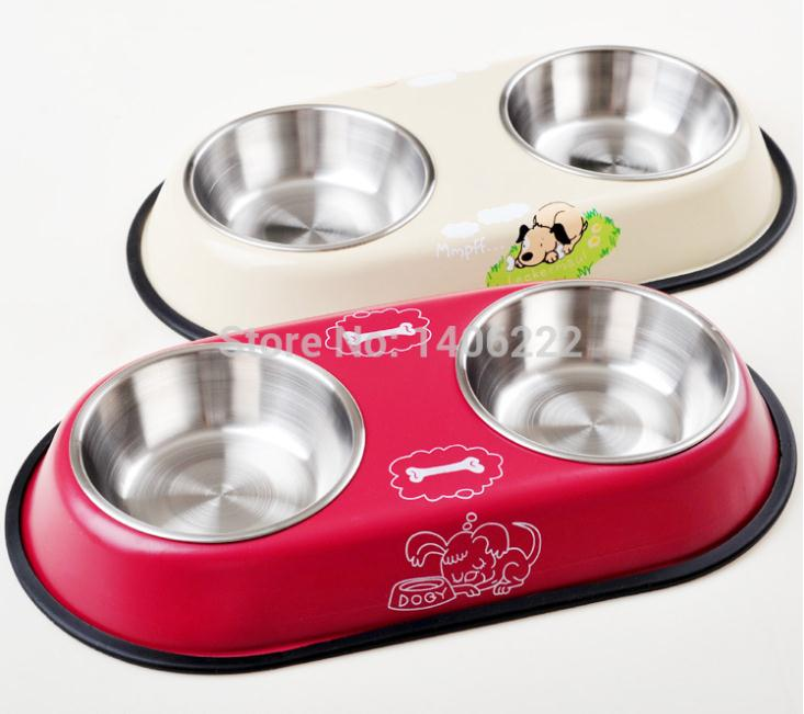 Dog stainless steel bowl pet double bowl cat water bowl slip-resistant double bowl small dogs supplies(China (Mainland))
