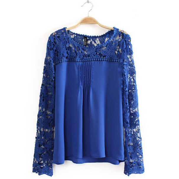 Top Quality Brand Plus Size S-5XL Chiffon Hollow Out Blouse Patchwork Crochet Lace Shirt Fashion Long Sleeve Blousas Femininas(China (Mainland))