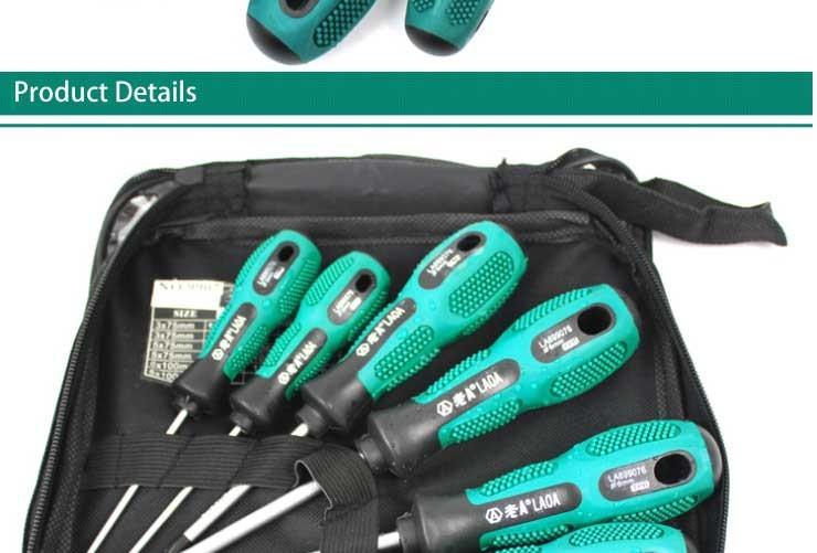 LAOA 6PCS/9PCS  LAOA rubber wrapped handle  Cr- V screwdriver set Screw Driver Destornillador With Bag