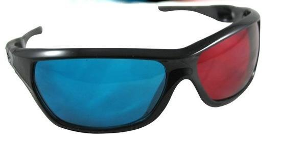 20pcs/lot  3D glasses/Re-useable Plastic Frame Resin Lens Anaglyphic Blue&Red 3D Glasses/Plastic Glasses Red/Cyan free shipping
