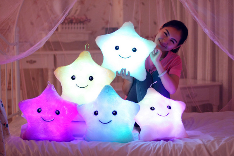 Hot 35*40cm Kawaii Star Pillow Color Change Luminous Pillow with Led Light Soft Stuffed Animals Doll Toys for Children(China (Mainland))