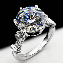 Genuine 14K White Gold 2Ct Synthetic Diamond Rings Fashionable Luxury Jewelry Wedding Engagement Proposal Rings for Women(China (Mainland))