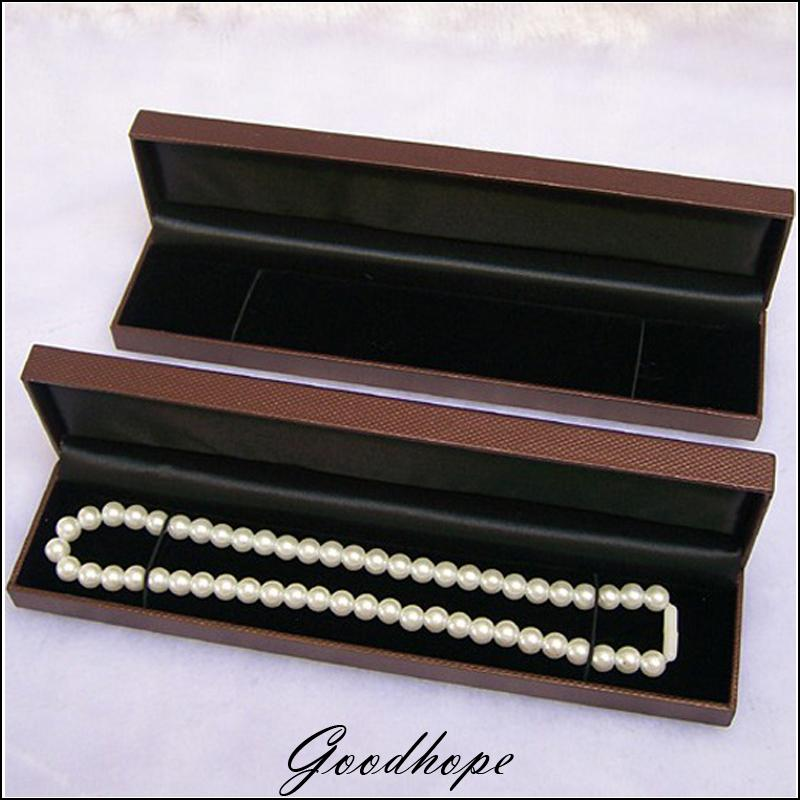 12pcs 22.8 x 5cm Brown Leatherette Necklace Box Gift Jewelry Packaging Boxes Chain Storage Boxes Pendant Bracelet Organizer Case(China (Mainland))