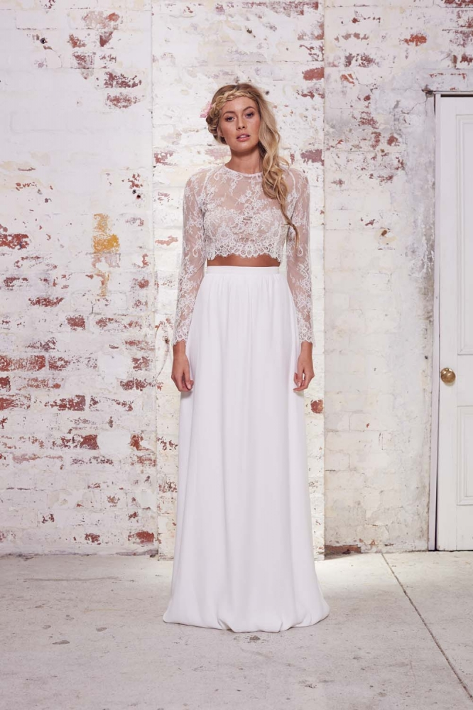 Lace long sleeve two piece bohemian wedding dresses 2016 for Bohemian white wedding dress