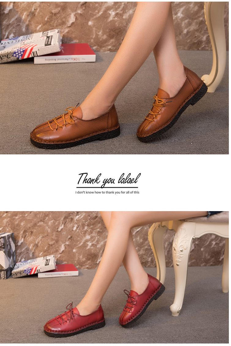 Super Soft Leather Shoes Non-Slip Lace-Up Retro Mother Soft Bottom Flat Middle-Aged Women Leisure Shoes Autumn Spring Size 41