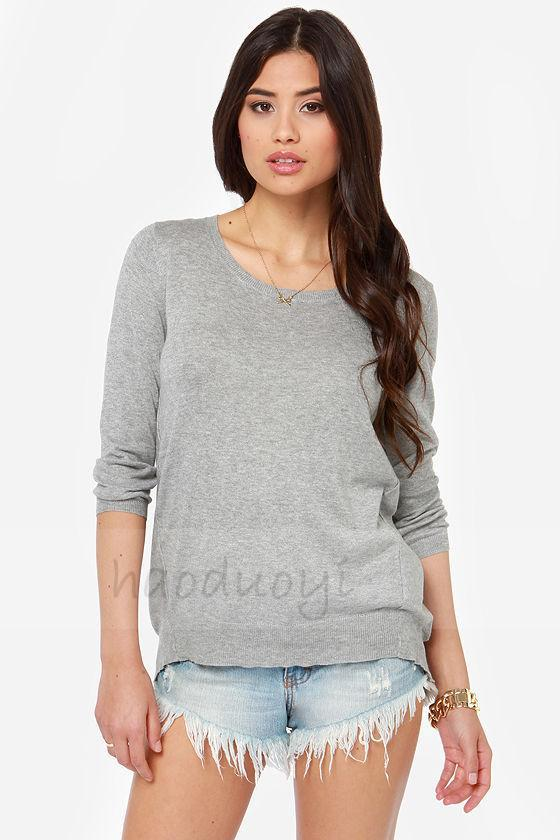 New women European sweater special lace insert sweater back-crossed sweater for wholesale and free shipping haoduoyi(China (Mainland))