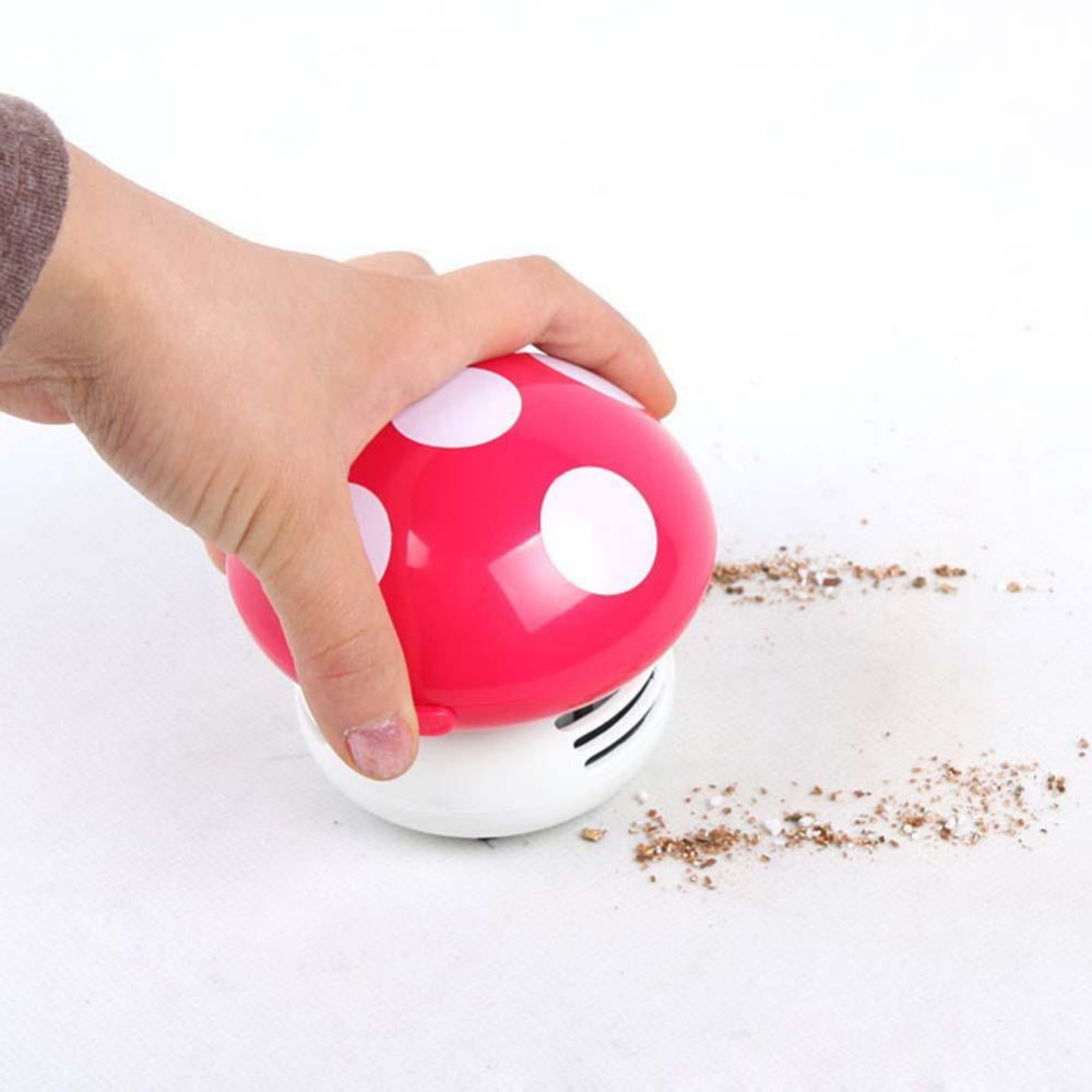 Hot Ritzy Cute Mini Mushroom Corner Desk Table Dust Vacuum Cleaner Sweeper Unique small vacuum hand held sweeper(China (Mainland))