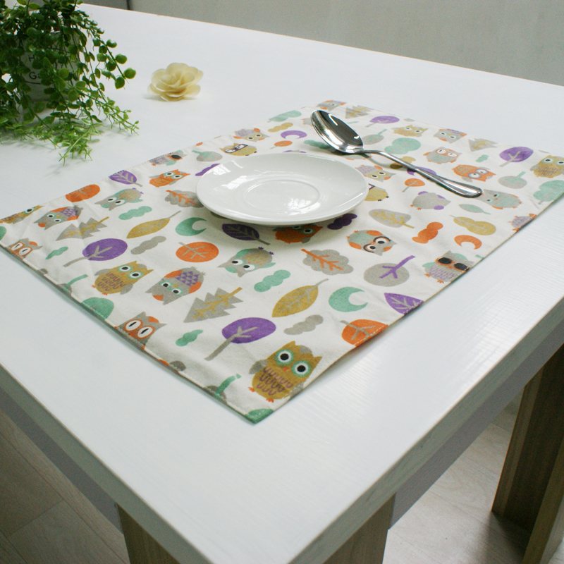 4pcs modern style owl print placemats diningkitchen table mat pad tableware utensil coaster cork coasters porta copos placemat. beautiful ideas. Home Design Ideas