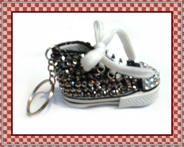 Fast Free shipping ,new arrival hot selling fashion shoe keychain with hematite rhinestone ,3.5cm*7.5cm*4.0cm 10pcs/lot