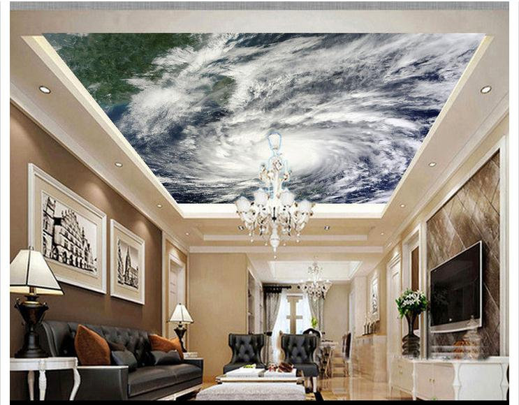 3D photo wallpaper 3d celing wallpaper murals typhoon cloud image satellite imagery ceiling decoration living room decoration(China (Mainland))