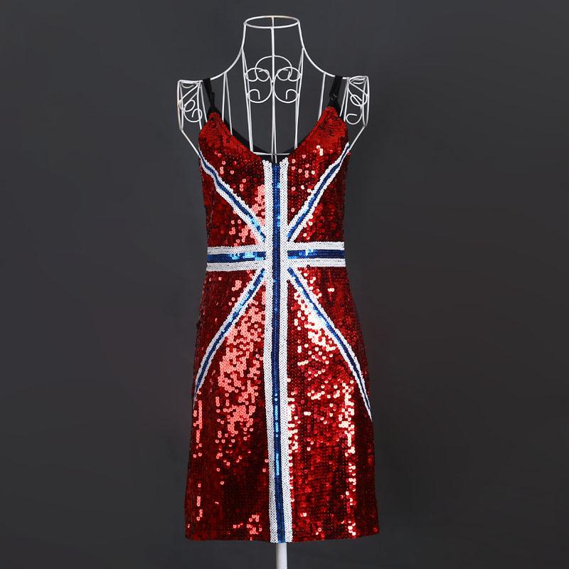 Europe mode d'été femmes drapeau britannique Bling Sequin robe KR4016B-4(China (Mainland))