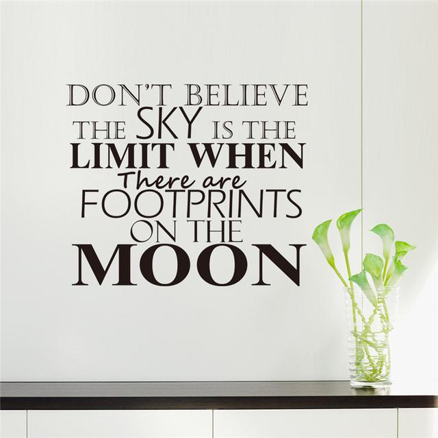 Бесплатная доставка 2016 новая цитата съемный виниловые наклейки на стены наклейки для гостиных домашнего декора горячие diy 8247 луна другие стены искусства