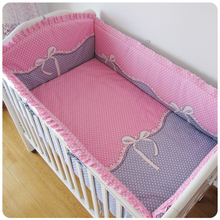 Promotion! 6PCS Pink Bow Crib Bedding Set Soft Baby Sheet Bumpers,Comfortable Baby Bedding Set (bumper+sheet+pillow cover)