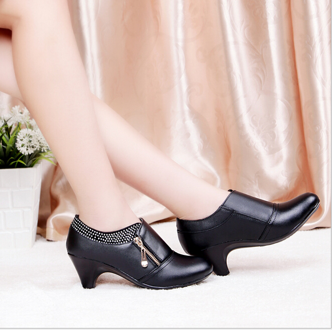 new women's business casual leather high-heeled shoes, first layer women dress shoes wedding party - All-New Market store