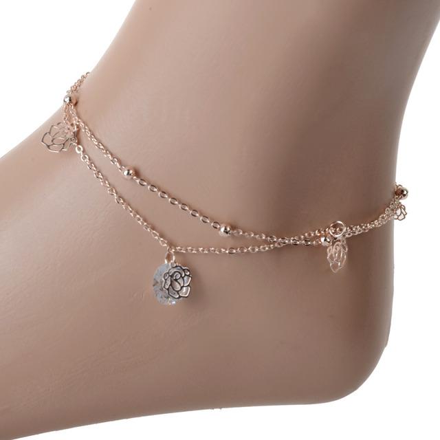 Оптовая продажа разнослоистое позолоченный сеть ножные браслеты кристалл горного ...