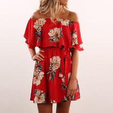 Buy Red Floral 2017 Summer dress shoulder Slash Ruffles neck print A-lined mini dress red fashion women dress for $13.78 in AliExpress store