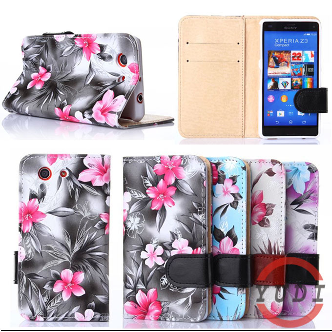 PU Leather flower Painted Flip Stand Cover Case sony xperia z3 compact Mini Z3 M55W phone cases card slot Y4A09D - Yudi-best store