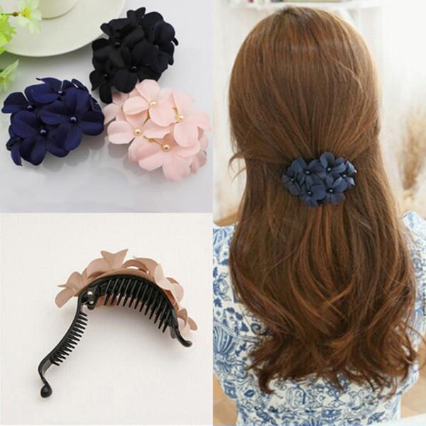 2016 Women Fashion Charming Cute Sweet Fabric Flower Hair Clip Headwear Hair Band for Women Girl Hair Accessories Free Shipping(China (Mainland))