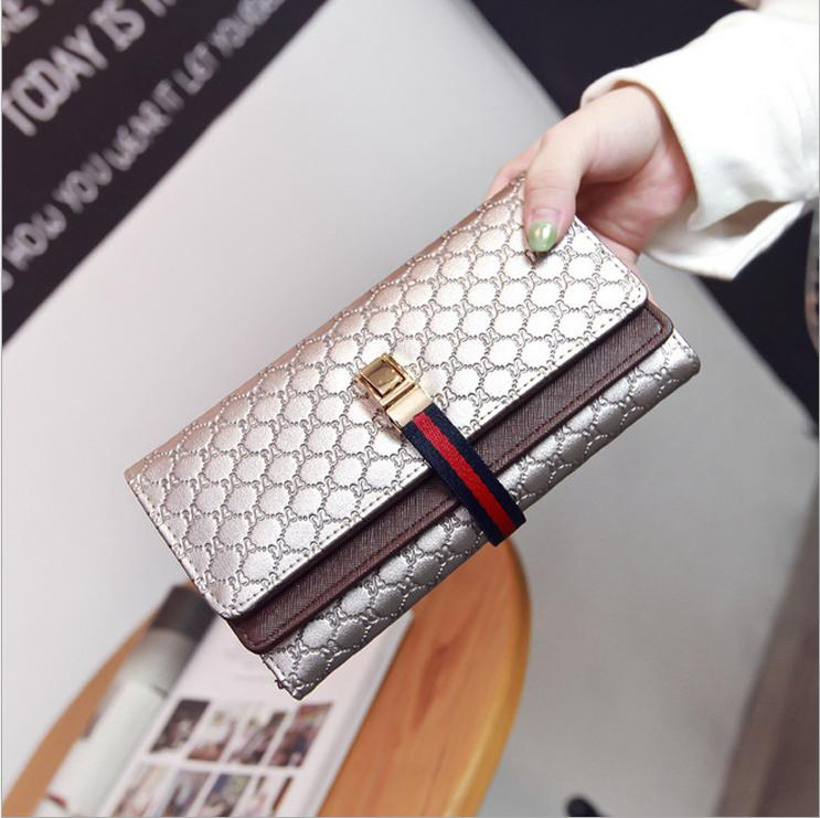 Fashion Wallet Women Purse Luxury Brand Women Leather Handbags Coin Card Long Wallet Embossing Double Fold Wallets Silver Black(China (Mainland))