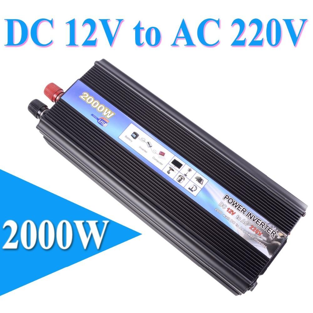HOT-A1-00017 Peak Output 2000W Car Vehicle USB DC 12V to AC 220V Power Inverter Adapter Converter - Black(China (Mainland))