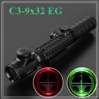HD Hunting Sight  Scope 3-9X32EG Red Green Dot Airsoft Riflescope Rangefinding Graph Rifle Focus Vista CACA Free Shipping