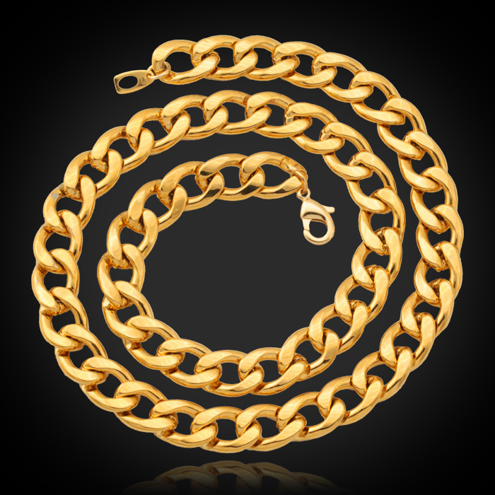 New fashion 18K Gold Filled Chunky Necklace Bracelet Chains '18K' Stamp Men's High Quality Snake Necklace 55CM Wholesale N754(China (Mainland))