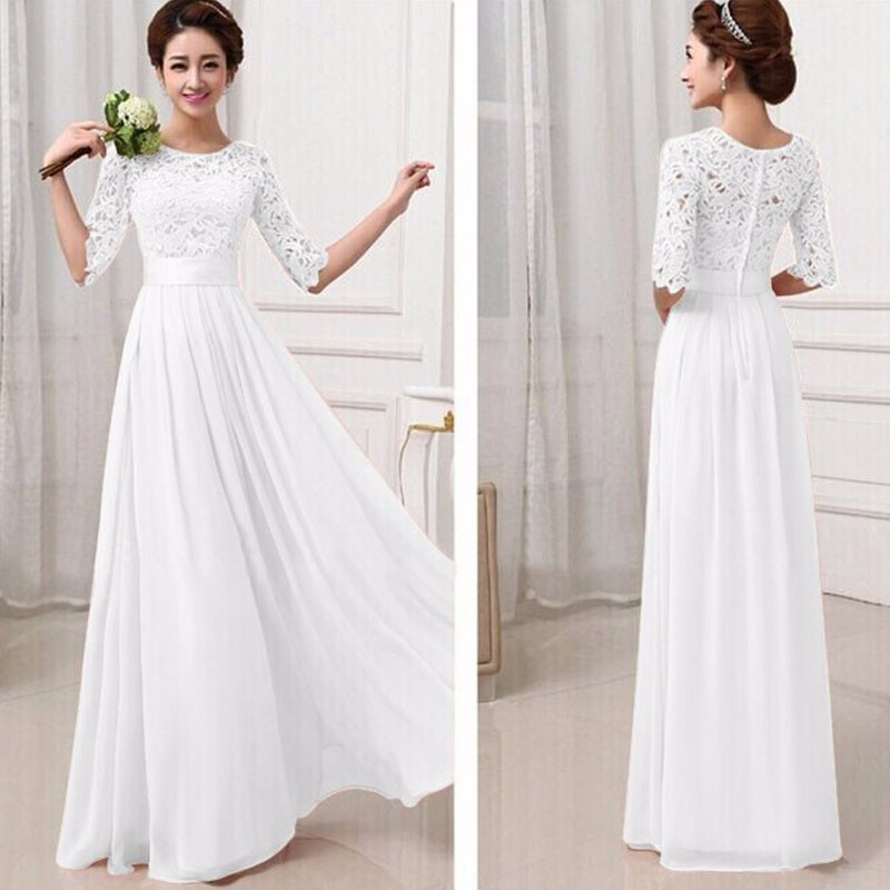 Pure color wedding party long dress women half sleeve for Lace maxi wedding dress
