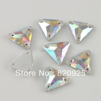 30pcs Crystal AB Button Flatback Sew on Rhinestone Triangle Sewing Craft 14mm