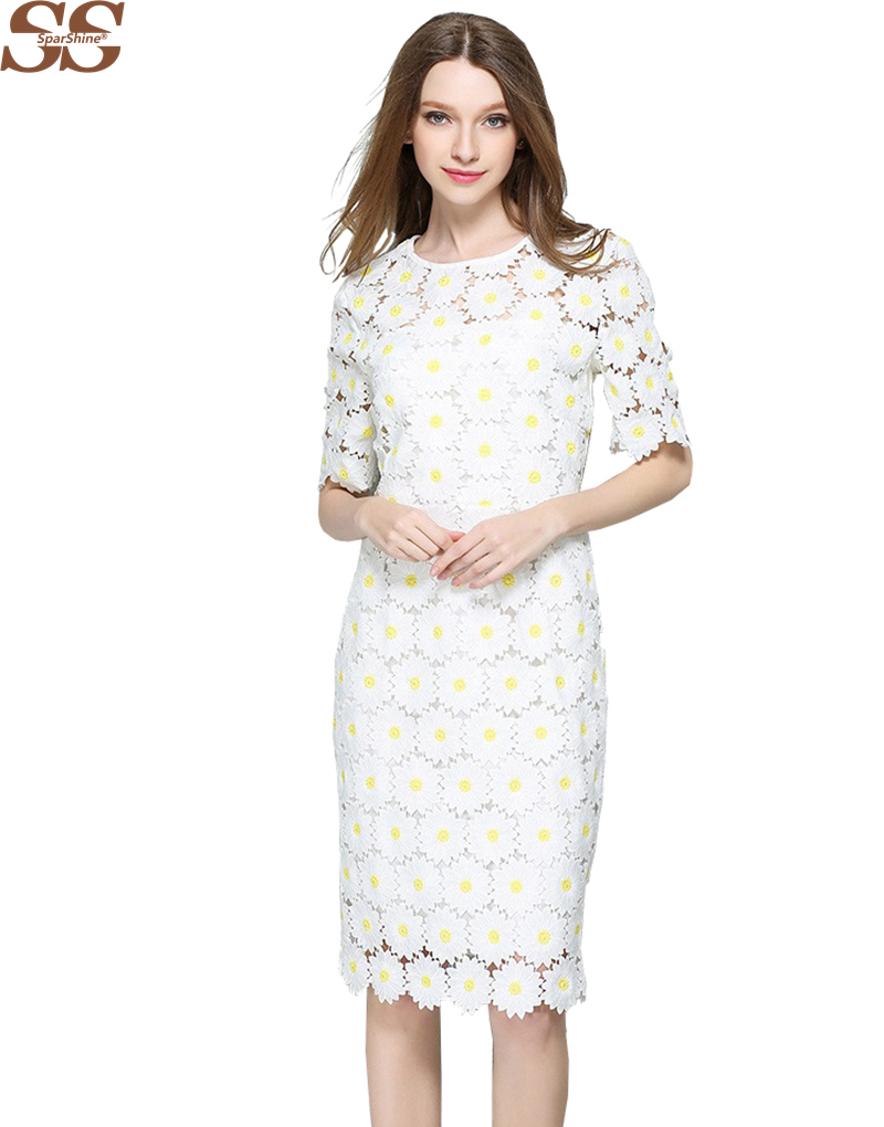 2016 Brand Designer White Lace Dress Women's High Quality Short Sleeve Daisy Floral Embroidery Cutout Elegant Dress Hollow Out(China (Mainland))