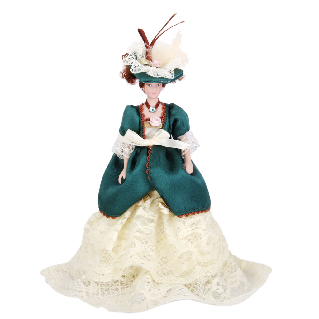 Dollhouse Miniature Porcelain Dolls Victorian Lady in Green Dress with Stand Creative Girls Gifts Presents Pretend Play Toys(China (Mainland))