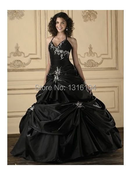 Antique Black Bridal Gowns Colorful Halter Ball Gown