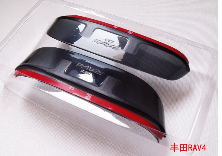 Free ship!2009~2012 2013~2014 TOYOTA RAV4 Reveiw mirror rain eyebrow cover,2pcsset(1pcs L+1pcs R)PVC;you car name+ model year.(China (Mainland))