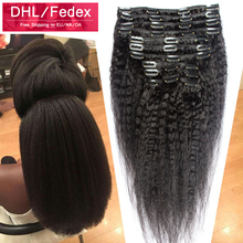 Italian Coarse Yaki Kinky Straight Clip in Hair Extensions 120g 6A Virgin Brazilian Hair Human Clip In Hair Extensions Free Ship(China (Mainland))
