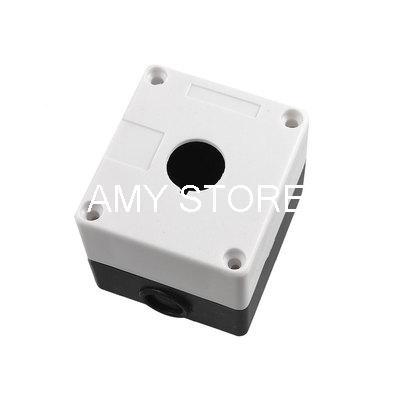 Black White Plastic 1 Push Button Switch Control Station Box Case(China (Mainland))