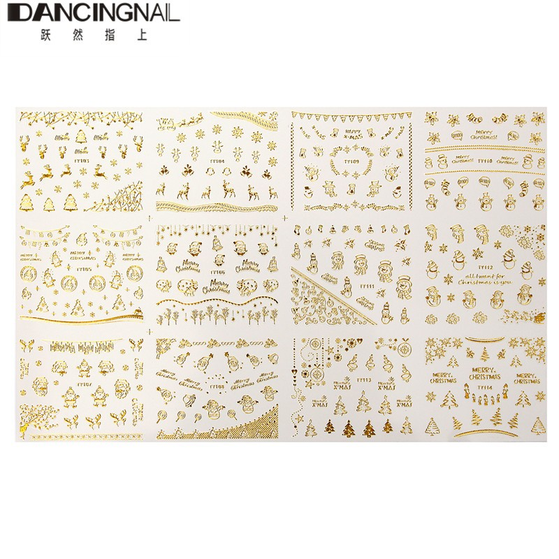 Pro 1pc 3D Christmas Pattern Film Nail Art Stickers Popular Manicure Tips Decal DIY Decoration Beauty Nails Tools Free Shipping(China (Mainland))