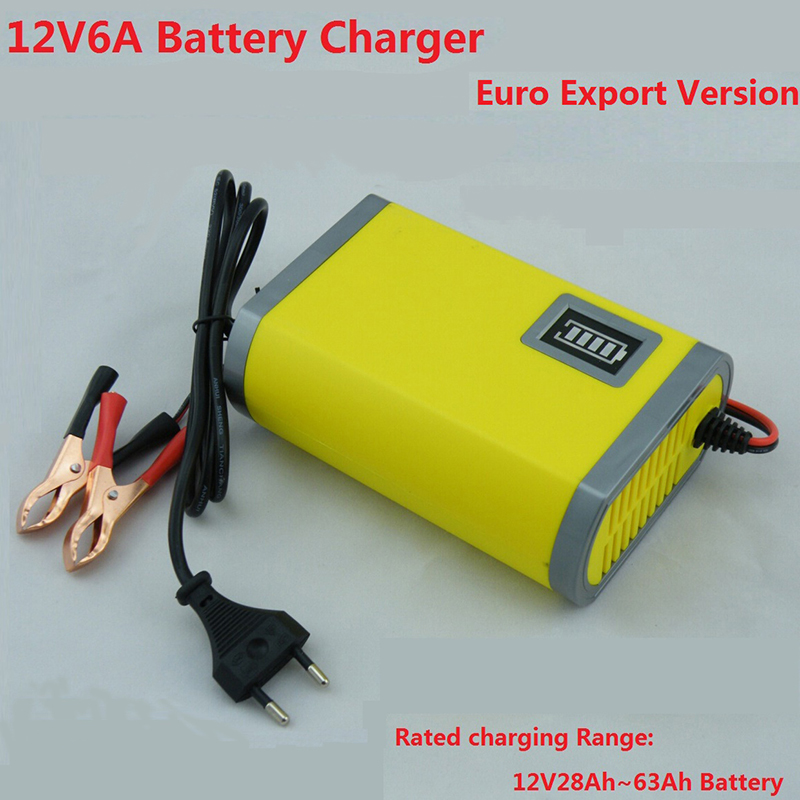12V Car Battery Charger 12V Lead Acid Battery Charger 12V Motorcycle Battery Charger 12V6A Car Charger a Free Power Adapter(China (Mainland))