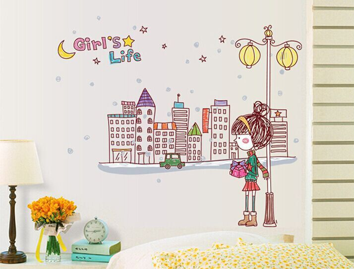 Wall Sticker For Children 39 S Gift Home Decoration Little Girl In The City Street For Girl