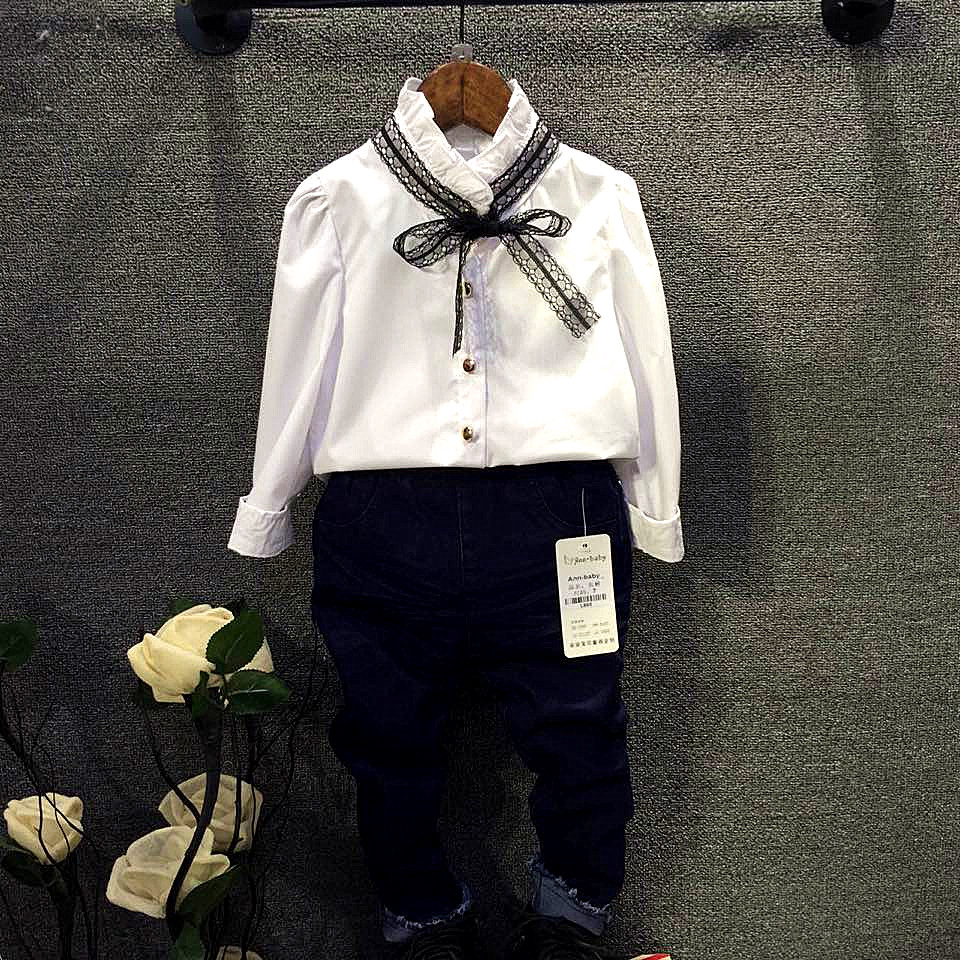 Children's Clothing 2016 spring Girls Lace Bow collar Shirt White princess shirts blouse Girl