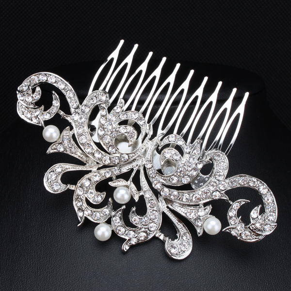 New Design Pearl Bridal Hair Jewelry Charm Silver Plated Crystal Hair Combs Hairpin Wedding Hair Accessories