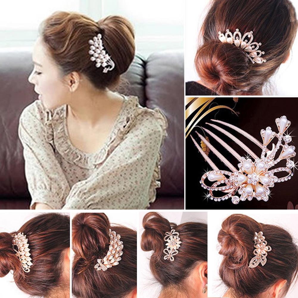Comb Diamante Hair Clip Comb Jewel Wedding Bridal Crystal Rhinestone Pearls Hairpin Flower Diamante Hair Clip(China (Mainland))