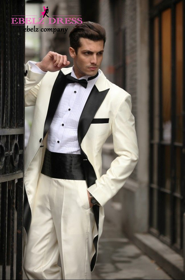 2015 High Quantity Beige Long White And Black Wedding Dresses Men