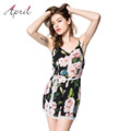 2016 Summer Harajuku Elegant Playsuit Romper for Women Sleeveless Floral Printed Chiffon Overalls Rompers Womens Playsuit