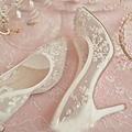 Beautiful High Heel Wedding Shoes Lace Rhinestone Spring Bridal Dress Shoes Sexy Hollow Transparent Prom Formal