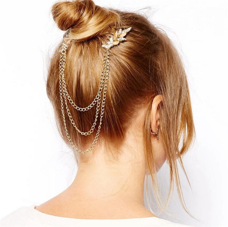 Women Punk Hair Cuff Pin Clip 2 Combs Tassels Crystal Leaves Chains Head Band Fashion Party Wedding Accessories Hair Jewelry(China (Mainland))