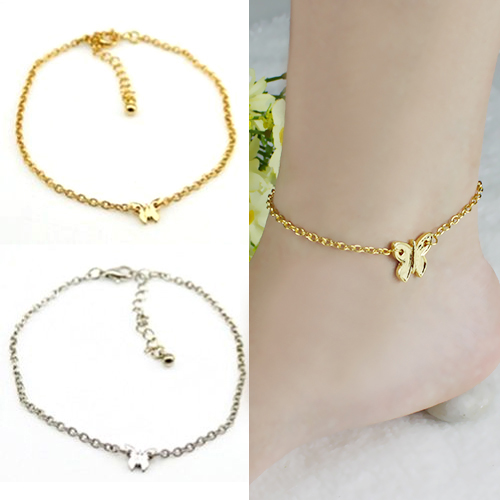 Women Silver Gold Butterfly Chain Slim Anklet Bracelet Foot Jewelry for Summer Beach