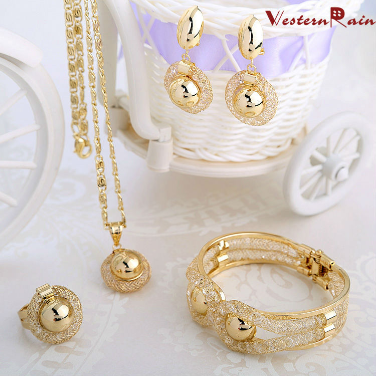 WesternRain 2015 Charming Lady Gold Plated Jewelry Pendientes Elegant Fashion Bridal Wedding Accessories Costume Jewelry Set(China (Mainland))
