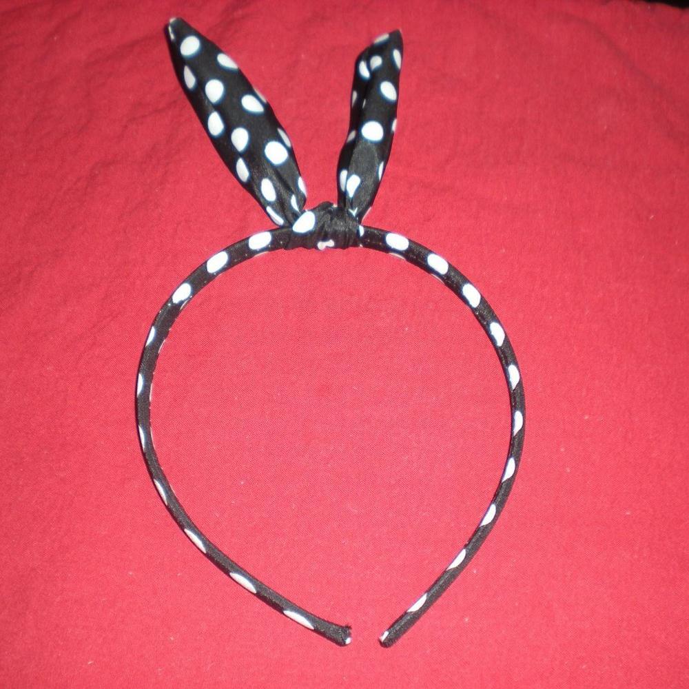 eFuture(TM) Black Cutely Rabbit Ear White Polka Dot Bowknot Alice Headband/Headwrap +eFuture's nice Keyring FREE SHIPPING(China (Mainland))