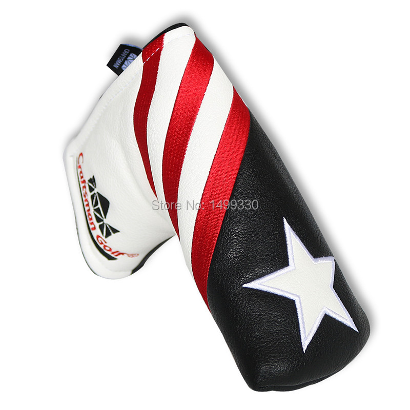 Craftsman Golf Blade Putter Cover For Scotty Cameron Putter Magnetic Headcover USA Star Synthetic PU Leahter New Black/White(China (Mainland))