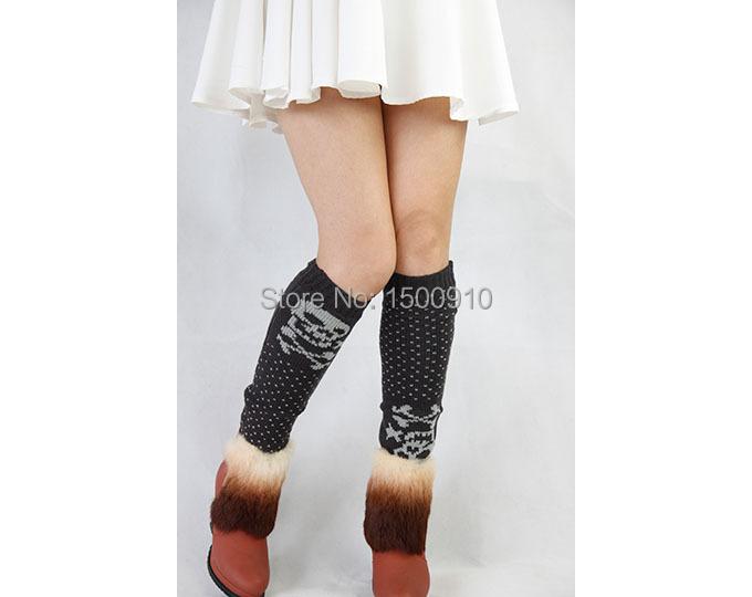Free Shipping Gray Unique Halloween Knit Boot Thigh High Socks Printed Skull Womens Leg Warmers17121004(China (Mainland))