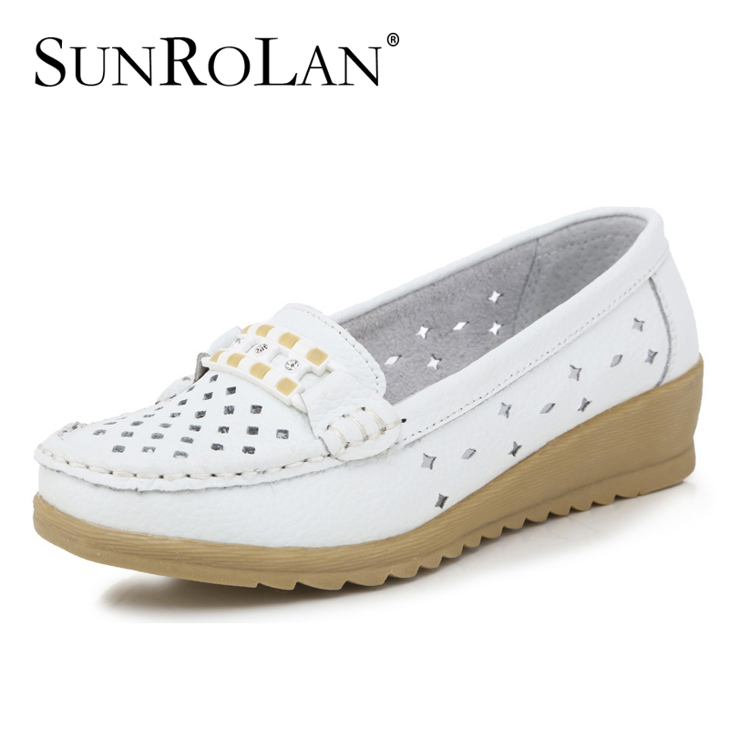 New 2015 women genuine leather sandals cut out mother shoes woman slip-on platform sandal comfortable women's flat shoes 10131(China (Mainland))
